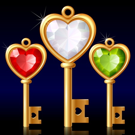 Three golden keys with Jewel heart Vector