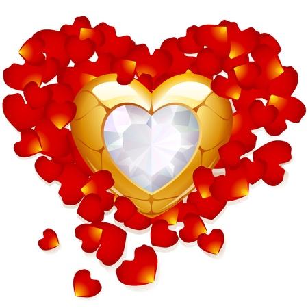 gold heart: Rose petal and jewel heart