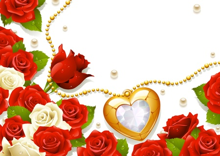Postcard with roses, pearls and medallion in the shape of heart