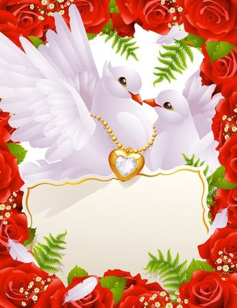 Greeting card with doves Vector
