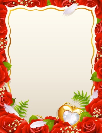 celebratory: Greeting card with roses, feathers and jewelry in the shape of heart
