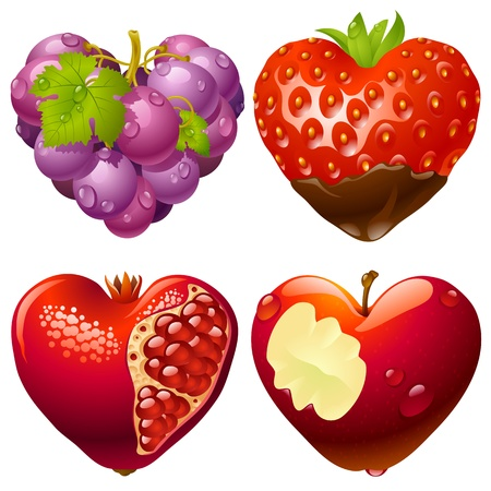 Shape of heart set 2. Strawberry, grapes, pomegranate and apple
