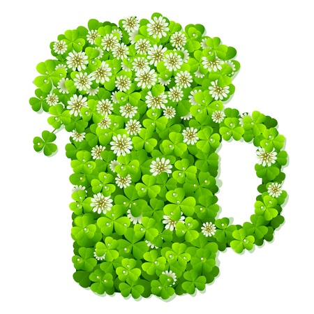 Clover beer mug Stock Vector - 12173268