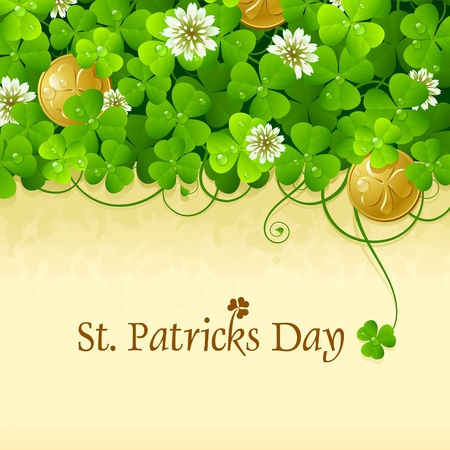 St. Patricks Day frame with clover and golden coin 5 Vector