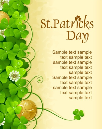 st  patrick's day: St. Patricks Day frame with clover and golden coin 6 Illustration