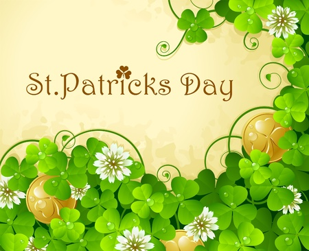 St. Patricks Day frame with clover and golden coin  Vector