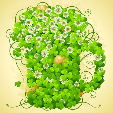 St. Patricks Day symbol. Clover and golden coin in the shape of beer mug Vector