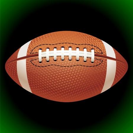 football play: Vector volo fiammeggiante palla football americano su sfondo nero