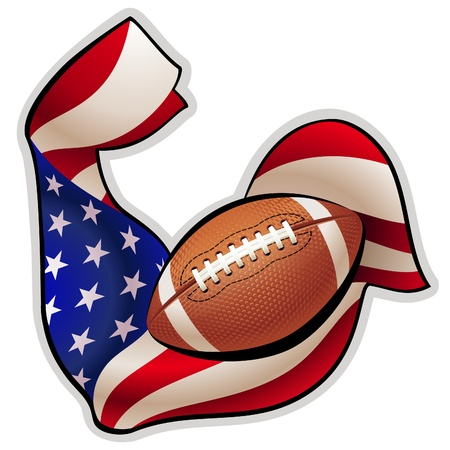 tense: Brawny hand in colors of american flag with tense biceps in the shape of ball Illustration