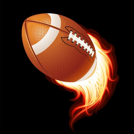 american football: Vector flying flaming American football ball on a black background