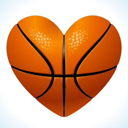 Ball for basketball in the shape of heart Illustration