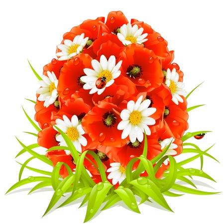 season greetings: Fleurs printani�res de vecteurs dans la forme de oeufs de P�ques Illustration
