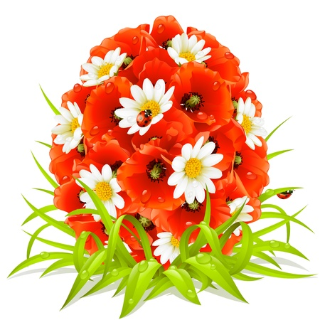 Vector spring flowers in the shape of Easter egg Vector