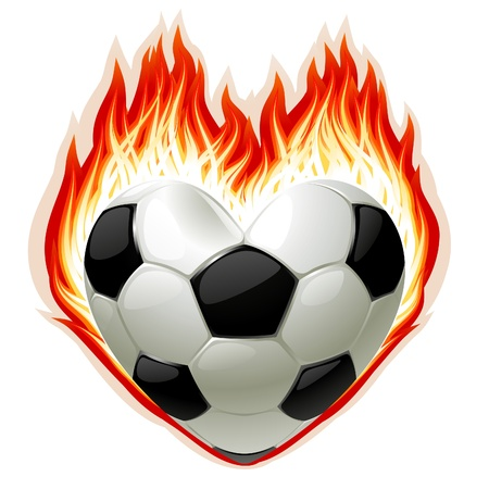 Vector football on fire in the shape of heart Stock Vector - 12477219