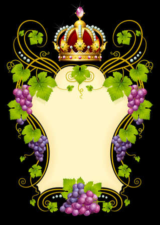 Vector grape frame with crown Illustration