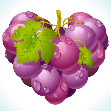 Bunch of grapes in the shape of heart Stock Vector - 12477217