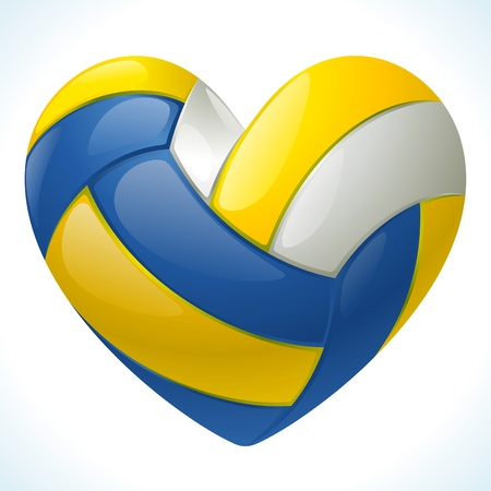 Volleyball in the shape of heart Vector