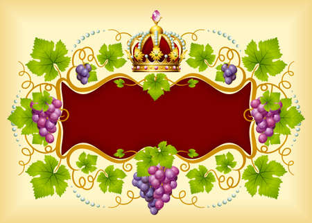 Grape frame with crown Stock Vector - 12796599