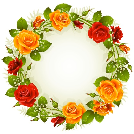 flower border: Vector red and yellow rose frame in the shape of circle