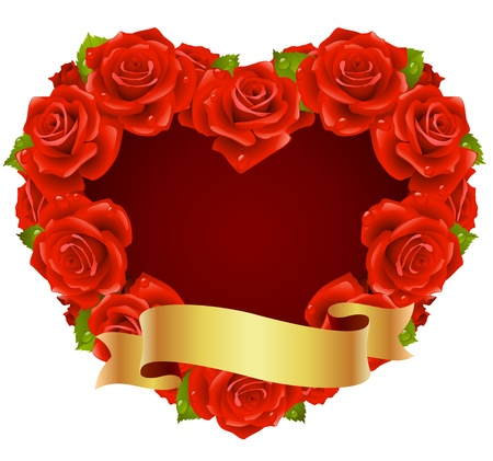 Vector red Rose Frame in the shape of heart Vector