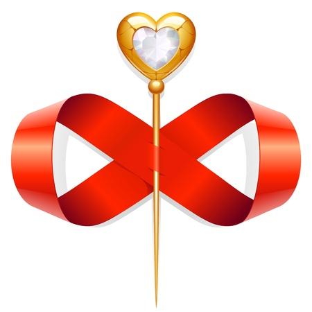 twirled: Burocrazia girava sotto forma di un segno dell'infinito e l'ago d'oro con diamante cuore