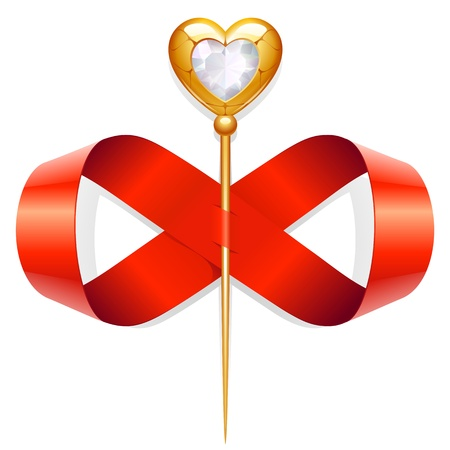 twirled: Red tape twirled in the shape of an infinity sign and gold needle with diamond heart