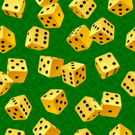 craps: Vector yellow dice seamless background