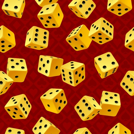 Vector yellow dice seamless background Vector