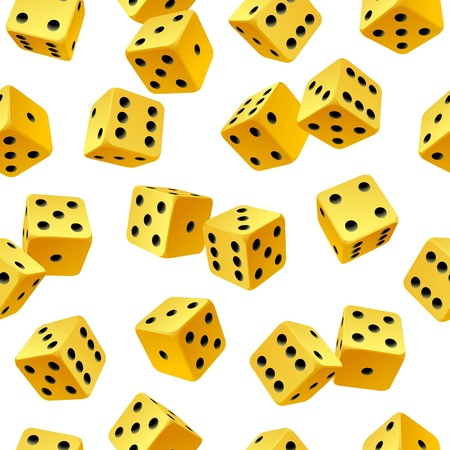 Vector yellow dice seamless background Stock Vector - 12796657
