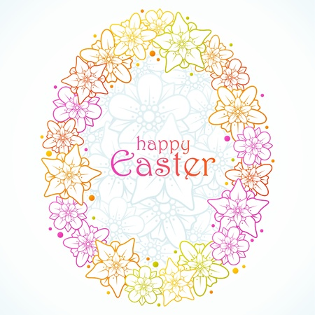 Vector floral greeting card of Easter. Egg Stock Vector - 12796710