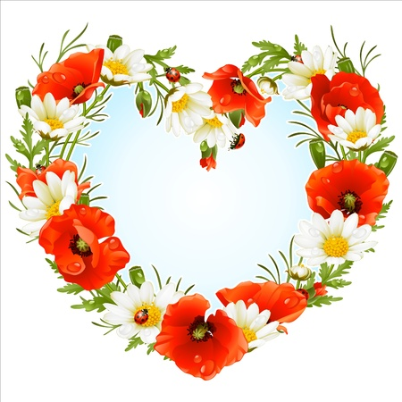 Vector flower frame in the shape of heart. Poppy and Camomile Vector