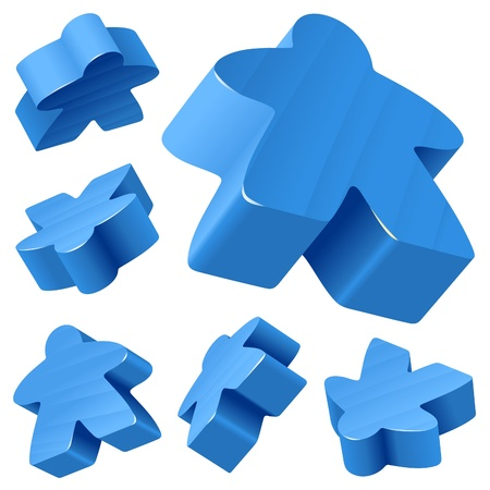 woody: Blue wooden Meeple vector set isolated on white. Symbol of family board games.