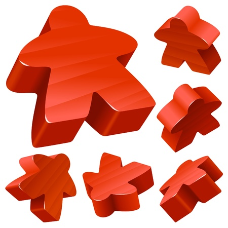 board games: Red wooden Meeple vector set isolated on white. Symbol of family board games.