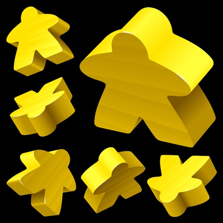 Yellow wooden Meeple vector set isolated on black. Symbol of family board games. Vector