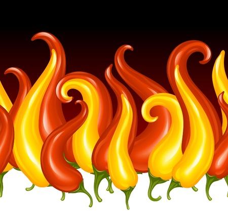 pimenton: Pimienta Red Hot Chilli en forma de fuego. Vector de fondo sin fisuras horizontales.