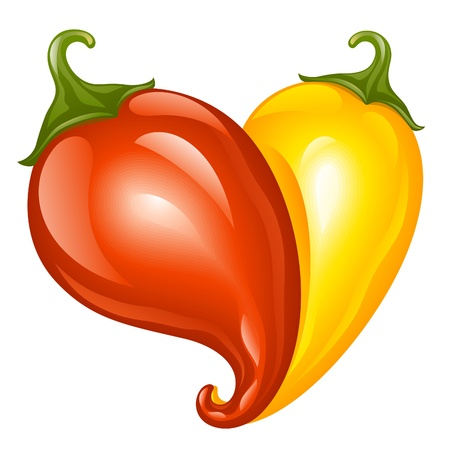 chilli: Hot chilli pepper red and yellow. Two pepper in the shape of heart - Love symbol to mexican cooking