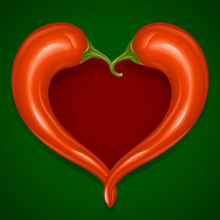 심장의 모양에 두 레드 핫 칠리 고추 프레임 - 멕시코 요리에 대한 사랑의 상징