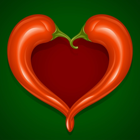 Two Red Hot chilli pepper frame in the shape of heart - Love symbol to mexican cooking Stock Vector - 12796664