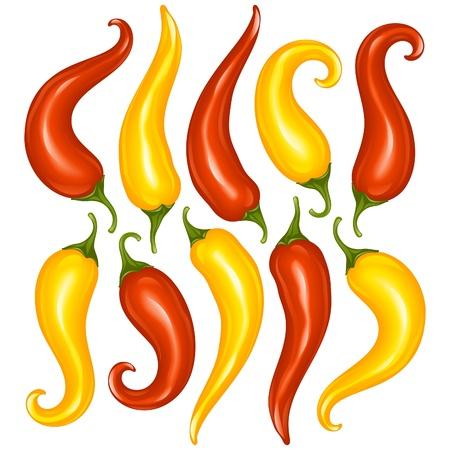 벡터 핫 칠리 고추 흰 배경에 고립의 집합입니다. 빨간색과 노란색