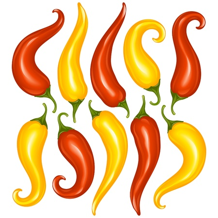 cayenne pepper: Vector Hot chilli pepper set isolated on white background. Red and yellow Illustration