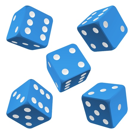 Blue rolling dice set. Vector icon Vector rolling white dice set on white background of cards colour Illustration