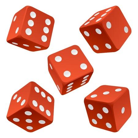 kostky: Červené kolejových kostky nastavení. Vector ikona Vektor valivé bílé kostky nastavit na bílém pozadí karet barvy