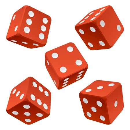 chances are: Red rolling dice set. Vector icon Vector rolling white dice set on white background of cards colour