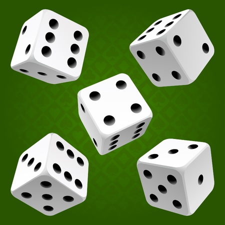 dices: White rolling dice set. Vector icon Vector rolling white dice set on green background of cards colour