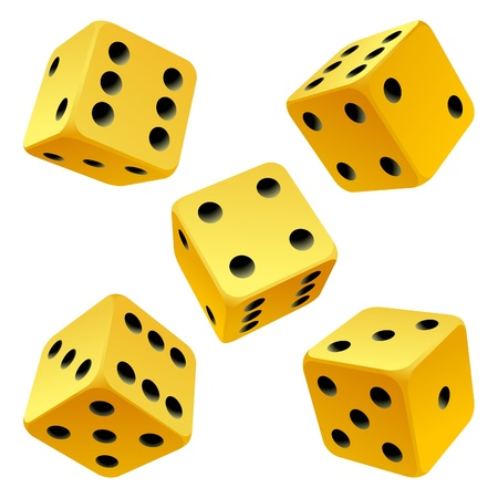 Yellow rolling dice set. Vector icon Vector rolling white dice set on white background of cards colour Stock Vector - 12796618