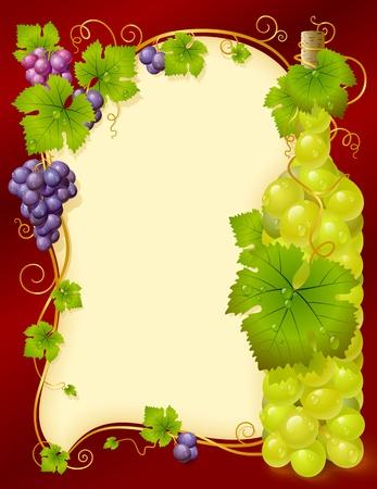 uvas vino: Vector marco de uva con el racimo en forma de botella de vino