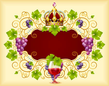 Vector grape frame with crown Vector