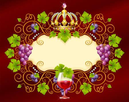 black grape: Vector grape frame with crown Illustration