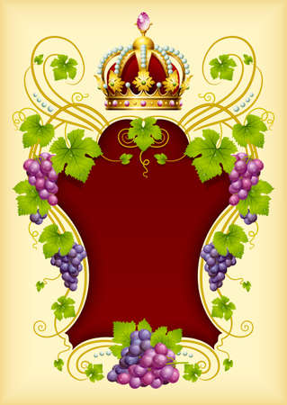 Vector grape frame with crown Stock Vector - 13483537