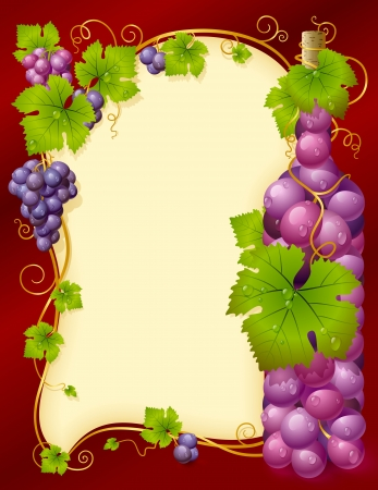 Vector grape frame with cluster in the shape of wine bottle